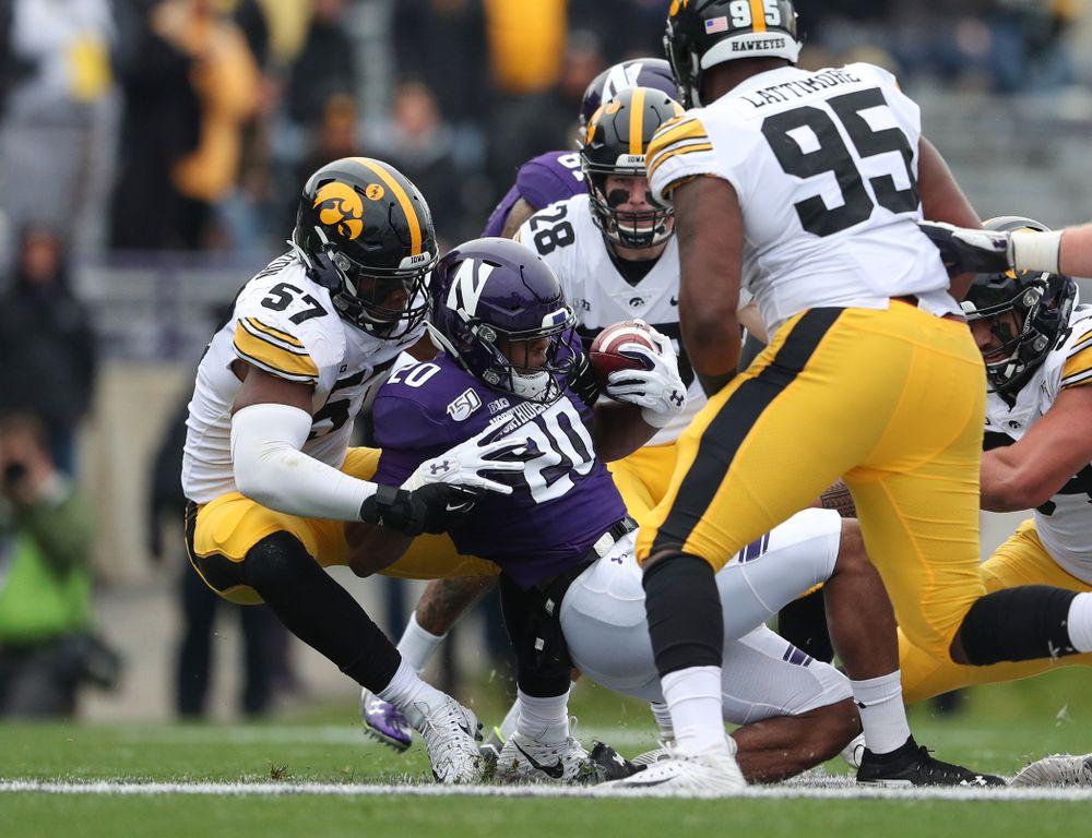Iowa Hawkeyes defensive end Chauncey Golston (57) against the Northwestern Wildcats Saturday, October 26, 2019 at Ryan Field in Evanston, Ill. (Brian Ray/hawkeyesports.com)
