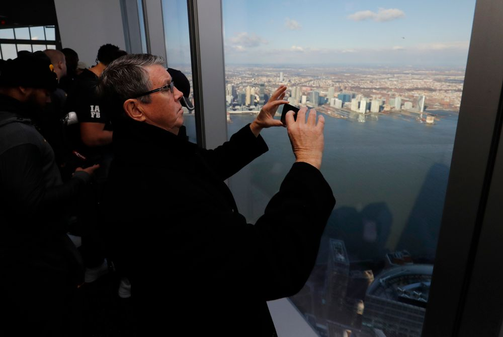 Quarterbacks coach Ken O'Keefe as the Iowa Hawkeyes visit the observation deck of the One World Trade Center and the 9/11 Memorial and Museu