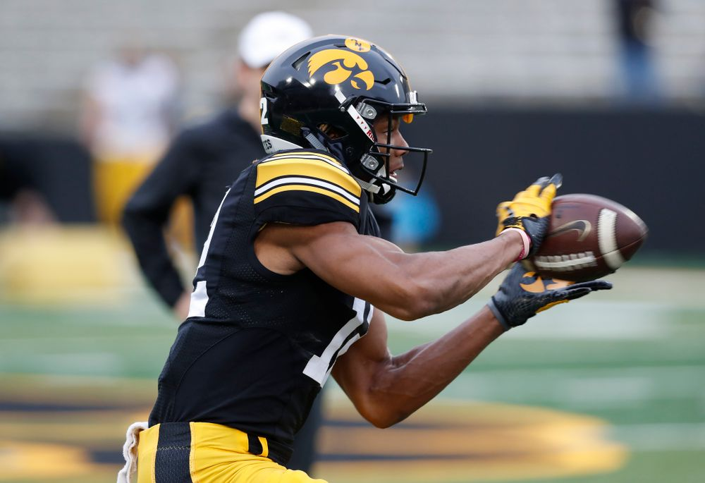 Iowa Hawkeyes wide receiver Brandon Smith (12) during the final spring practice Friday, April 20, 2018 at Kinnick Stadium. (Brian Ray/hawkeyesports.com)