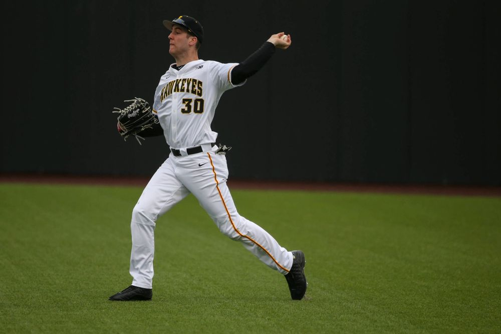Iowa outfielder Connor McCaffery at game 1 vs Illinois on Friday, March 29, 2019 at Duane Banks Field. (Lily Smith/hawkeyesports.com)