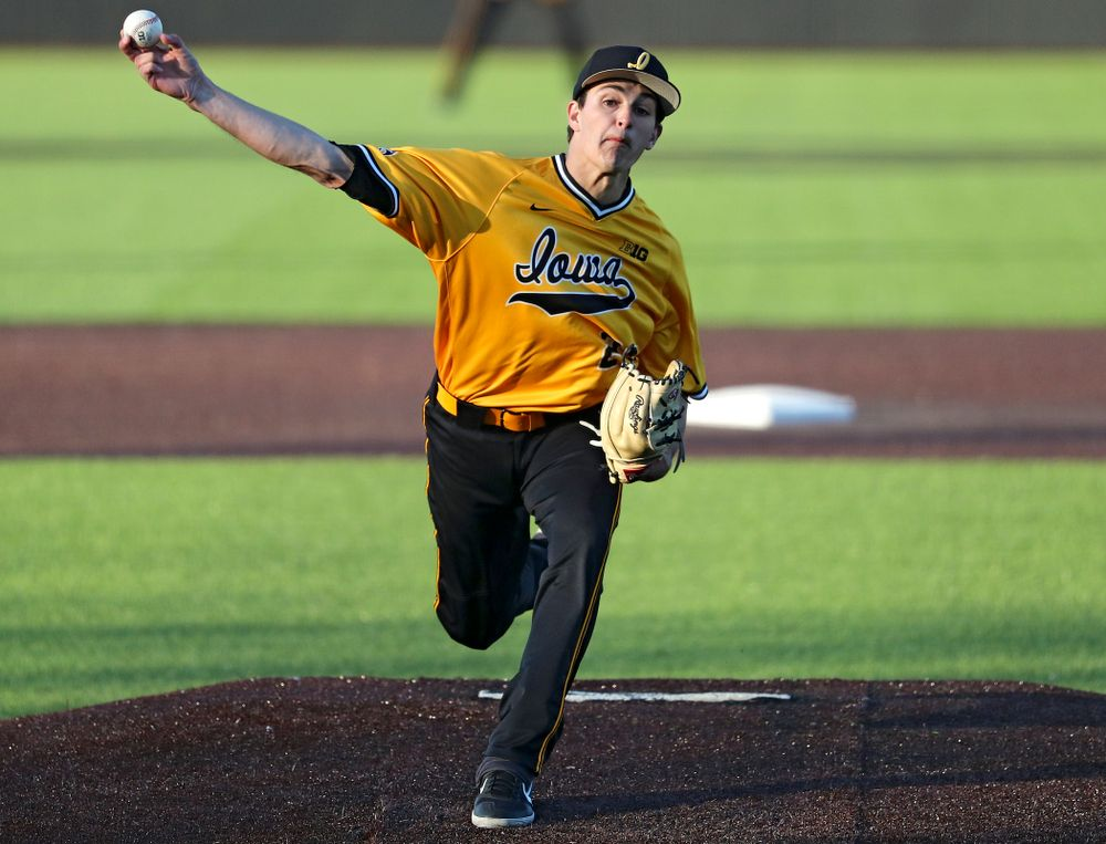 Iowa Hawkeyes pitcher Jason Foster (27) delivers to the plate during the eighth inning of their game at Duane Banks Field in Iowa City on Tuesday, Apr. 2, 2019. (Stephen Mally/hawkeyesports.com)