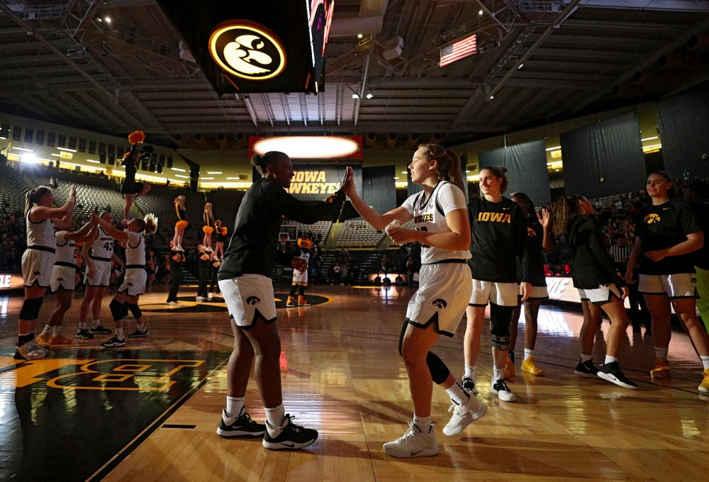 Iowa guard Kathleen Doyle (22) is introduced before their overtime win against Princeton at Carver-Hawkeye Arena in Iowa City on Wednesday, Nov 20, 2019. (Stephen Mally/hawkeyesports.com)