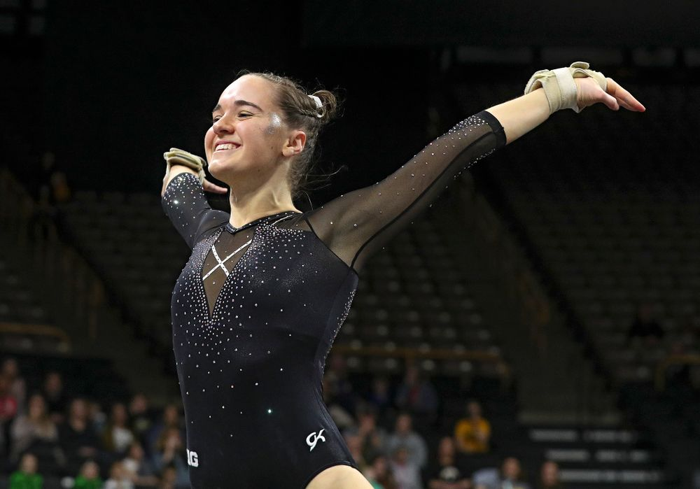Iowa's Allie Gilchrist competes on the floor during their meet at Carver-Hawkeye Arena in Iowa City on Sunday, March 8, 2020. (Stephen Mally/hawkeyesports.com)