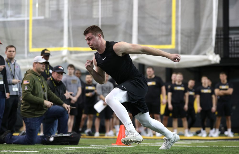Wide Receiver Matt VandeBerg during the teamÕs annual Pro Day Monday, March 25, 2019 at the Hansen Football Performance Center. (Brian Ray/hawkeyesports.com)