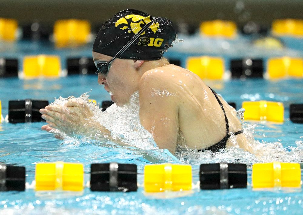 Iowa's Grace Reeder swims the breaststroke section of the 100-yard individual medley event during their meet against Michigan State at the Campus Recreation and Wellness Center in Iowa City on Thursday, Oct 3, 2019. (Stephen Mally/hawkeyesports.com)
