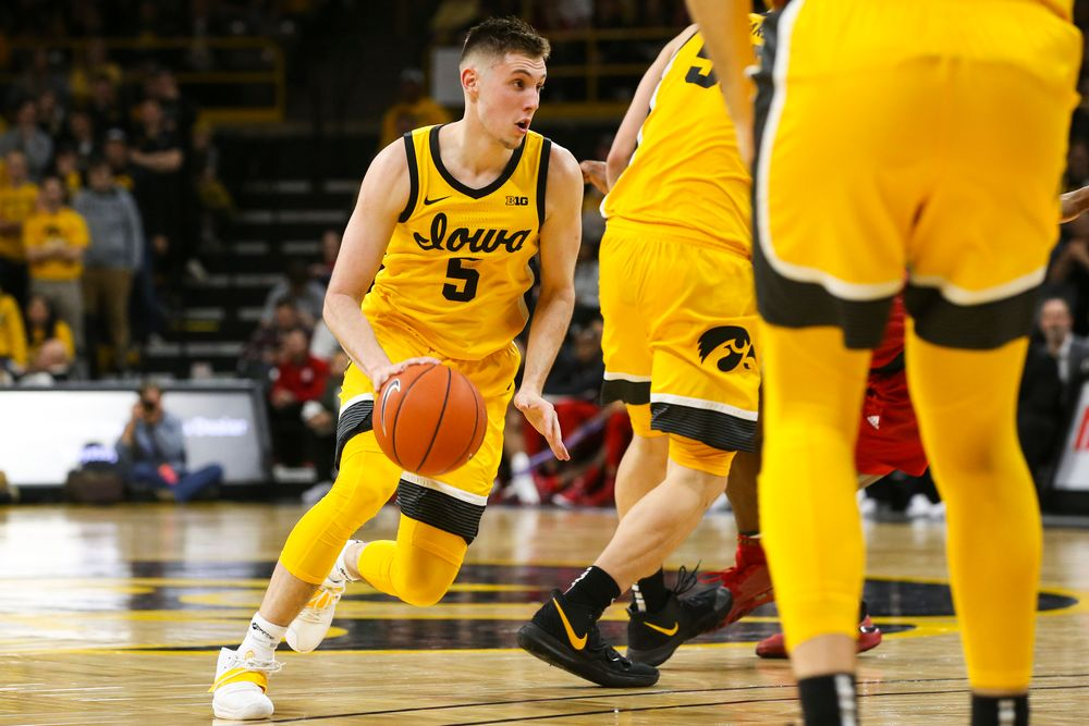 Iowa Hawkeyes guard CJ Fredrick (5) drives to the hoop during the Iowa men's basketball game vs Rutgers on Wednesday, January 22, 2020 at Carver-Hawkeye Arena. (Lily Smith/hawkeyesports.com)