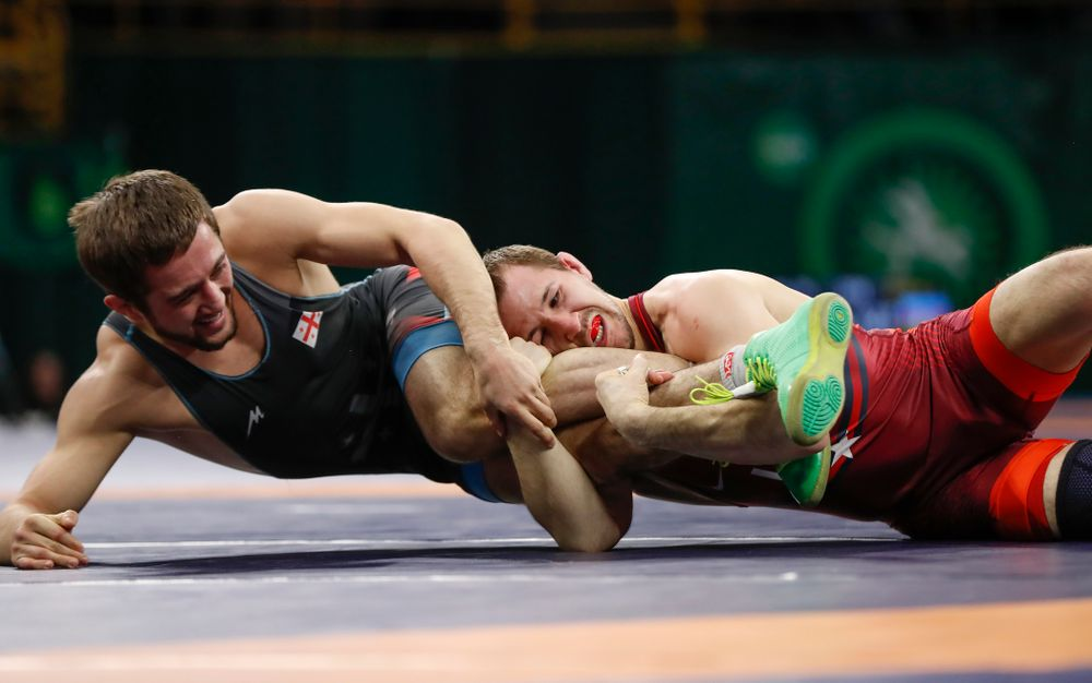 Logan Stieber during session three of the United World Wrestling Freestyle World Cup Sunday, April 8, 2018 at Caver-Hawkeye Arena. (Brian Ray/hawkeyesports.com)