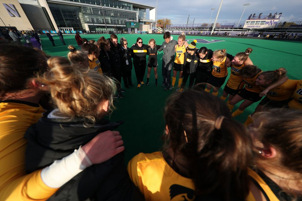 The Iowa Hawkeyes gather following their victory against the Michigan Wolverines in the semi-finals of the Big Ten Tournament Friday, November 2, 2018 at Lakeside Field on the campus of Northwestern University in Evanston, Ill. (Brian Ray/hawkeyesports.com)