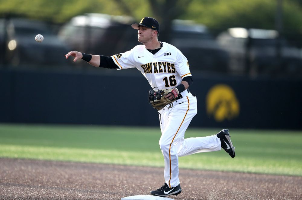 Iowa Hawkeyes Tanner Wetrich (16) turns a double play during game one against UC Irvine Friday, May 3, 2019 at Duane Banks Field. (Brian Ray/hawkeyesports.com)