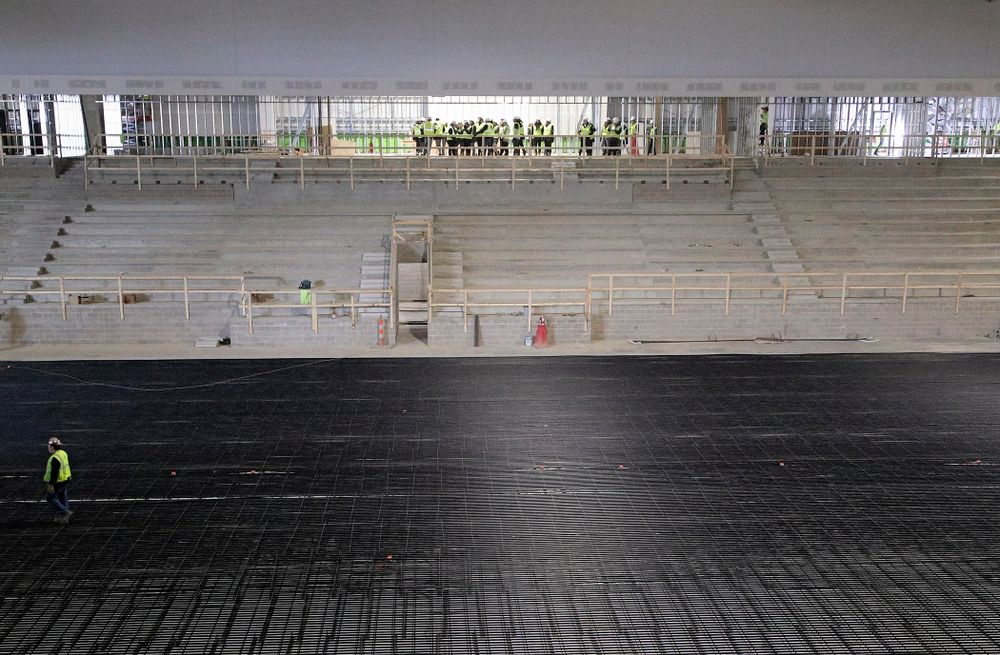 The Iowa Volleyball team and staff take a construction tour of Xtream Arena in Coralville on Thursday, January 30, 2020. (Stephen Mally/hawkeyesports.com)