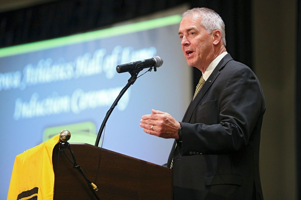 Henry B. and Patricia B. Tippie Director of Athletics Chair Gary Barta speaks during the Hall of Fame Induction Ceremony at the Coralville Marriott Hotel and Conference Center in Coralville on Friday, Aug 30, 2019. (Stephen Mally/hawkeyesports.com)