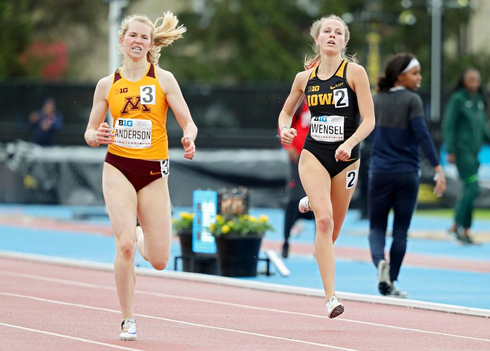 Iowa's Payton Wensel runs the women's 400 meter dash event on the second day of the Big Ten Outdoor Track and Field Championships at Francis X. Cretzmeyer Track in Iowa City on Saturday, May. 11, 2019. (Stephen Mally/hawkeyesports.com)