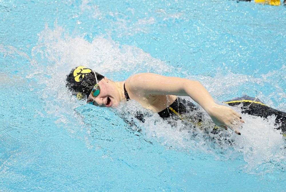 Iowa's Erin Lang swims the women's 200 yard freestyle preliminary event during the 2020 Women's Big Ten Swimming and Diving Championships at the Campus Recreation and Wellness Center in Iowa City on Friday, February 21, 2020. (Stephen Mally/hawkeyesports.com)