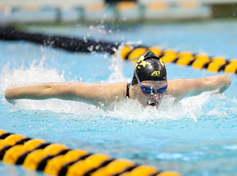 Iowa's Sarah Schemmel swims the women's 100 yard butterfly preliminary event during the 2020 Women's Big Ten Swimming and Diving Championships at the Campus Recreation and Wellness Center in Iowa City on Friday, February 21, 2020. (Stephen Mally/hawkeyesports.com)