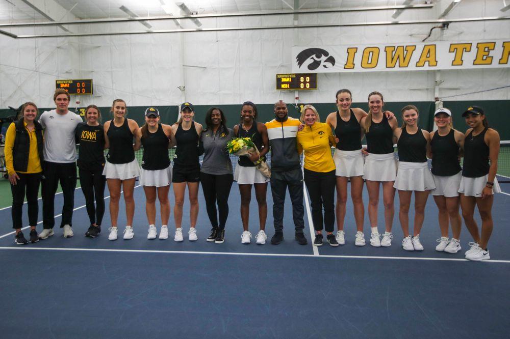 The Iowa womenÕs tennis team at womenÕs tennis senior day vs Nebraska on Saturday, April 13, 2019 at the Hawkeye Tennis and Recreation Complex. (Lily Smith/hawkeyesports.com)