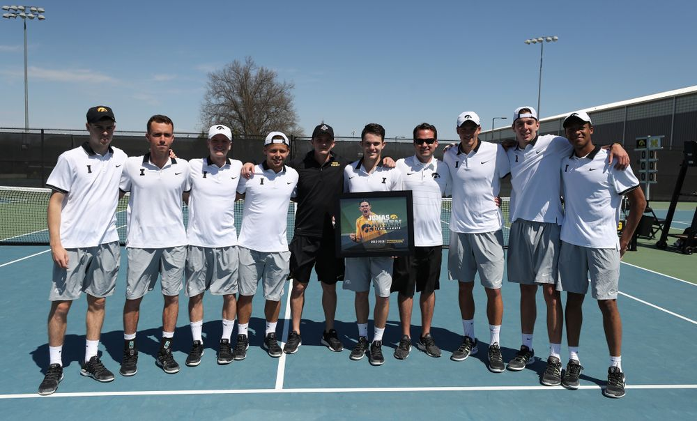 IowaÕs Jonas Larsen is honored during senior day ceremonies before their game against the Michigan Wolverines Sunday, April 21, 2019 at the Hawkeye Tennis and Recreation Complex. (Brian Ray/hawkeyesports.com)