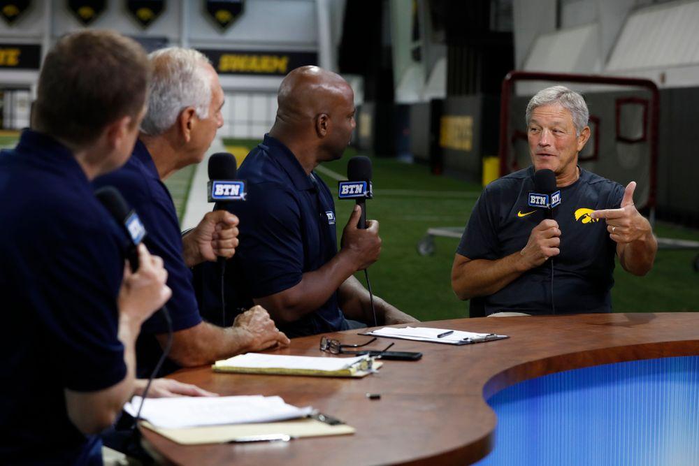 Iowa Hawkeyes head coach Kirk Ferentz on the Big Ten Network set Monday, August 20, 2018 at the Hansen Football Performance Center. (Brian Ray/hawkeyesports.com)