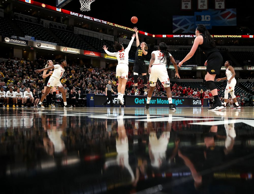Iowa Hawkeyes guard Kathleen Doyle (22) against the Maryland Terrapins in the Big Ten Championship Game Sunday, March 10, 2019 in Indianapolis, Ind. (Brian Ray/hawkeyesports.com)