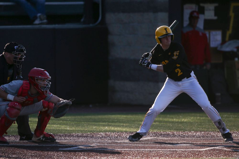 Iowa infielder Brendan Sher at the game vs. Bradley on Tuesday, March 26, 2019 at (place). (Lily Smith/hawkeyesports.com)