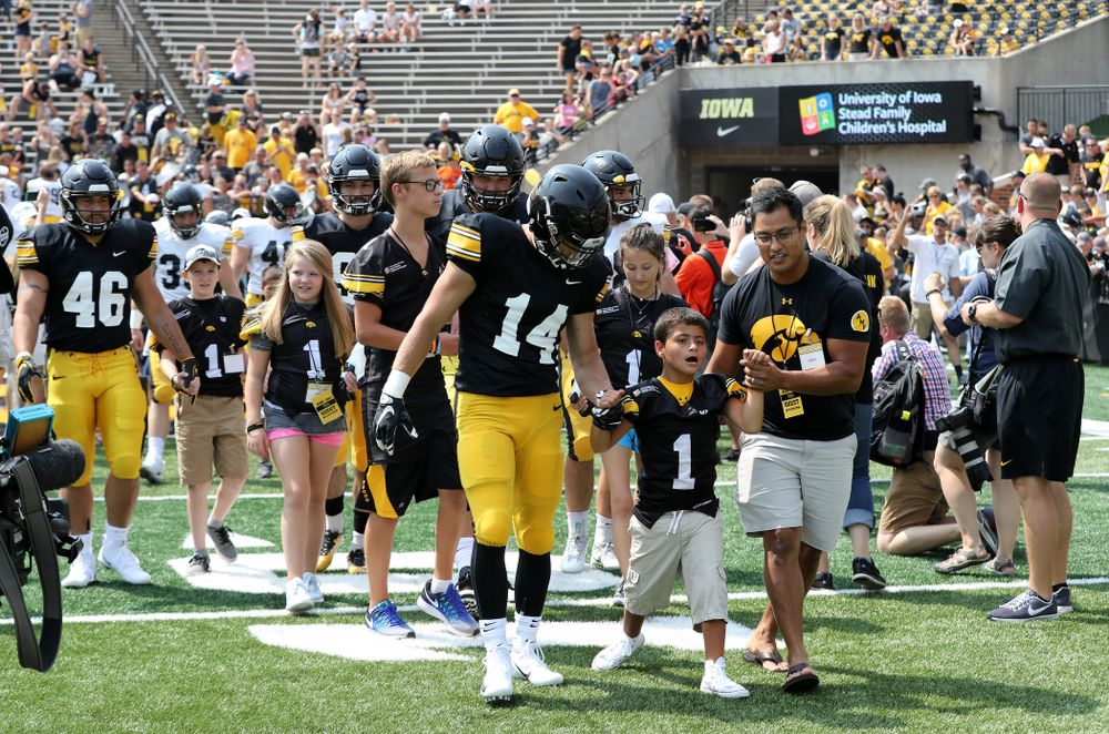Iowa Hawkeyes wide receiver Kyle Groeneweg (14) during Kids Day Saturday, August 11, 2018 at Kinnick Stadium. (Brian Ray/hawkeyesports.com)