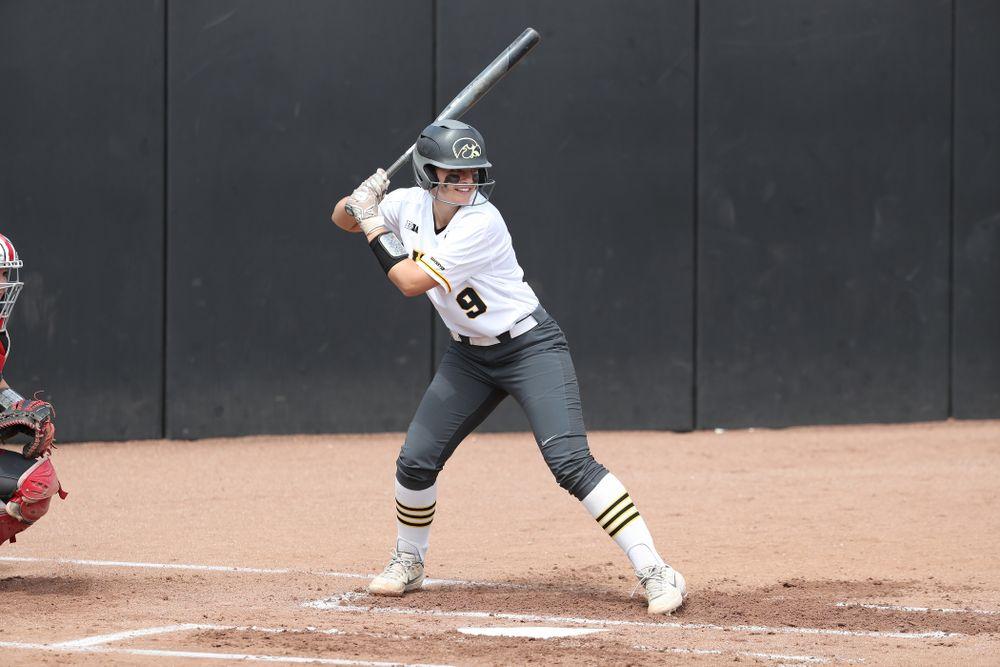 Iowa Hawkeyes Abby Lien (9) against the Ohio State Buckeyes on senior day Sunday, May 5, 2019 at Pearl Field. (Brian Ray/hawkeyesports.com)