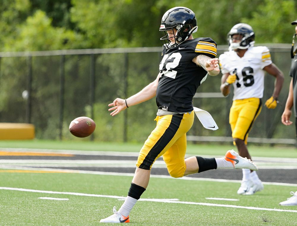 Iowa Hawkeyes punter Michael Sleep-Dalton (22) punts the ball away during Fall Camp Practice No. 11 at the Hansen Football Performance Center in Iowa City on Wednesday, Aug 14, 2019. (Stephen Mally/hawkeyesports.com)