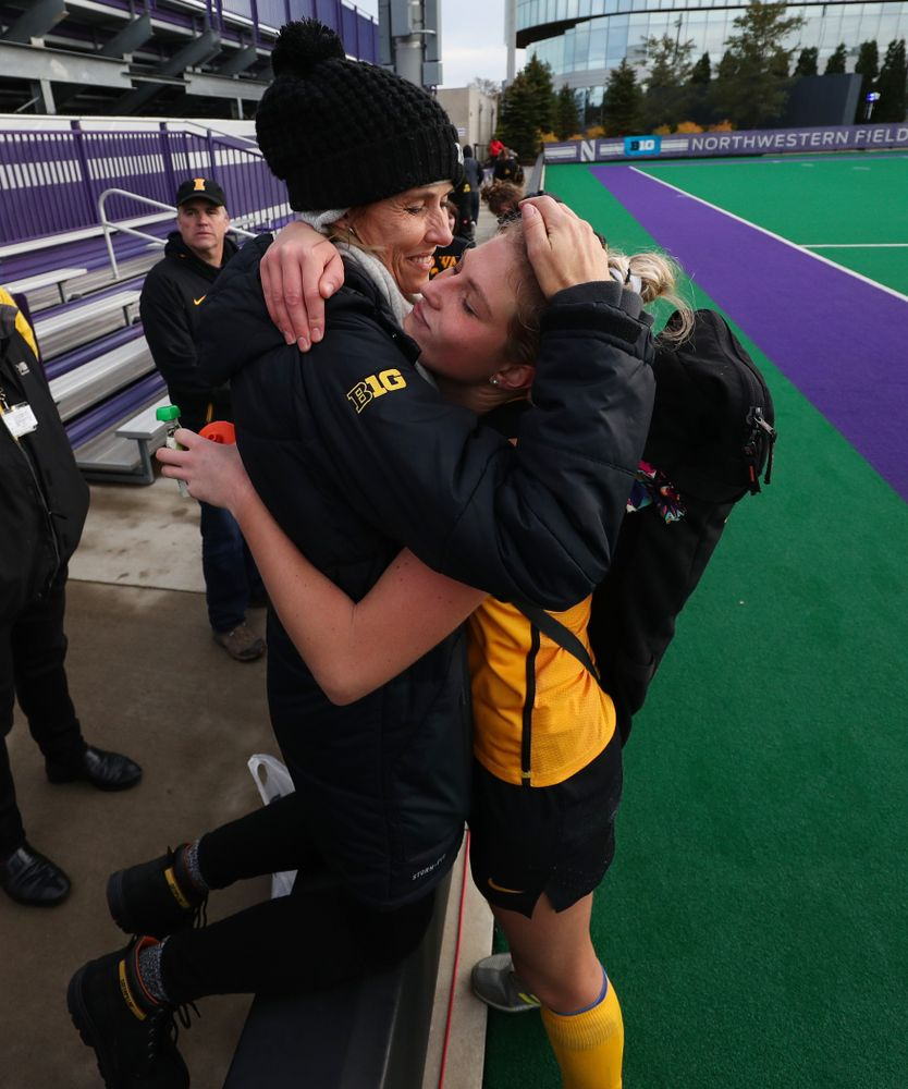 Iowa Hawkeyes Ellie Holley (7) hugs her family after their 2-1 victory over the Michigan Wolverines in the semi-finals of the Big Ten Tournament Friday, November 2, 2018 at Lakeside Field on the campus of Northwestern University in Evanston, Ill. (Brian Ray/hawkeyesports.com)
