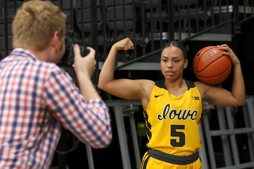 Iowa guard Alexis Sevillian (5) poses for a picture during Iowa Women's Basketball Media Day at Carver-Hawkeye Arena in Iowa City on Thursday, Oct 24, 2019. (Stephen Mally/hawkeyesports.com)