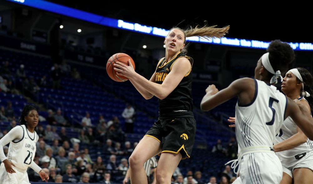 Iowa Hawkeyes forward Amanda Ollinger (43) against the Penn State Nittany Lions Thursday, January 30, 2020 at the Bryce Jordan Center. (Brian Ray/hawkeyesports.com)