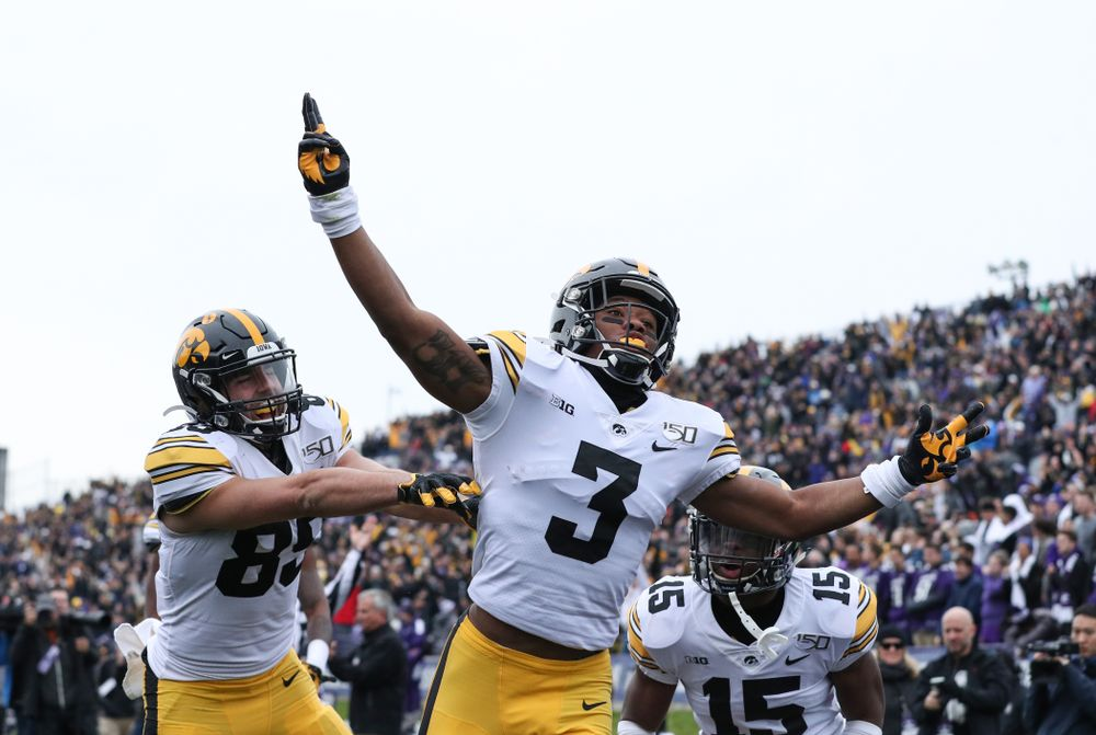 Iowa Hawkeyes wide receiver Tyrone Tracy Jr. (3) celebrates a touchdown against the Northwestern Wildcats Saturday, October 26, 2019 at Ryan Field in Evanston, Ill. (Brian Ray/hawkeyesports.com)