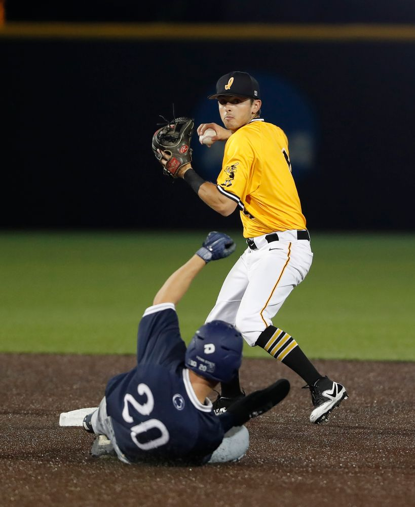 Iowa Hawkeyes infielder Mitchell Boe (4)  against the Penn State Nittany Lions Saturday, May 19, 2018 at Duane Banks Field. (Brian Ray/hawkeyesports.com)