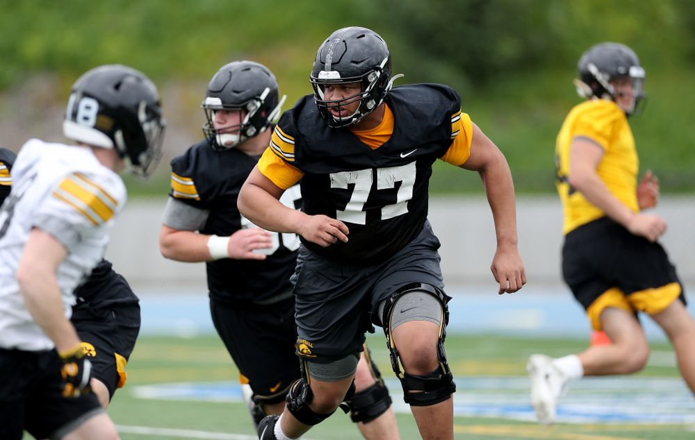 Iowa Hawkeyes offensive lineman Alaric Jackson (77) during practice Sunday, December 22, 2019 at Mesa College in San Diego. (Brian Ray/hawkeyesports.com)