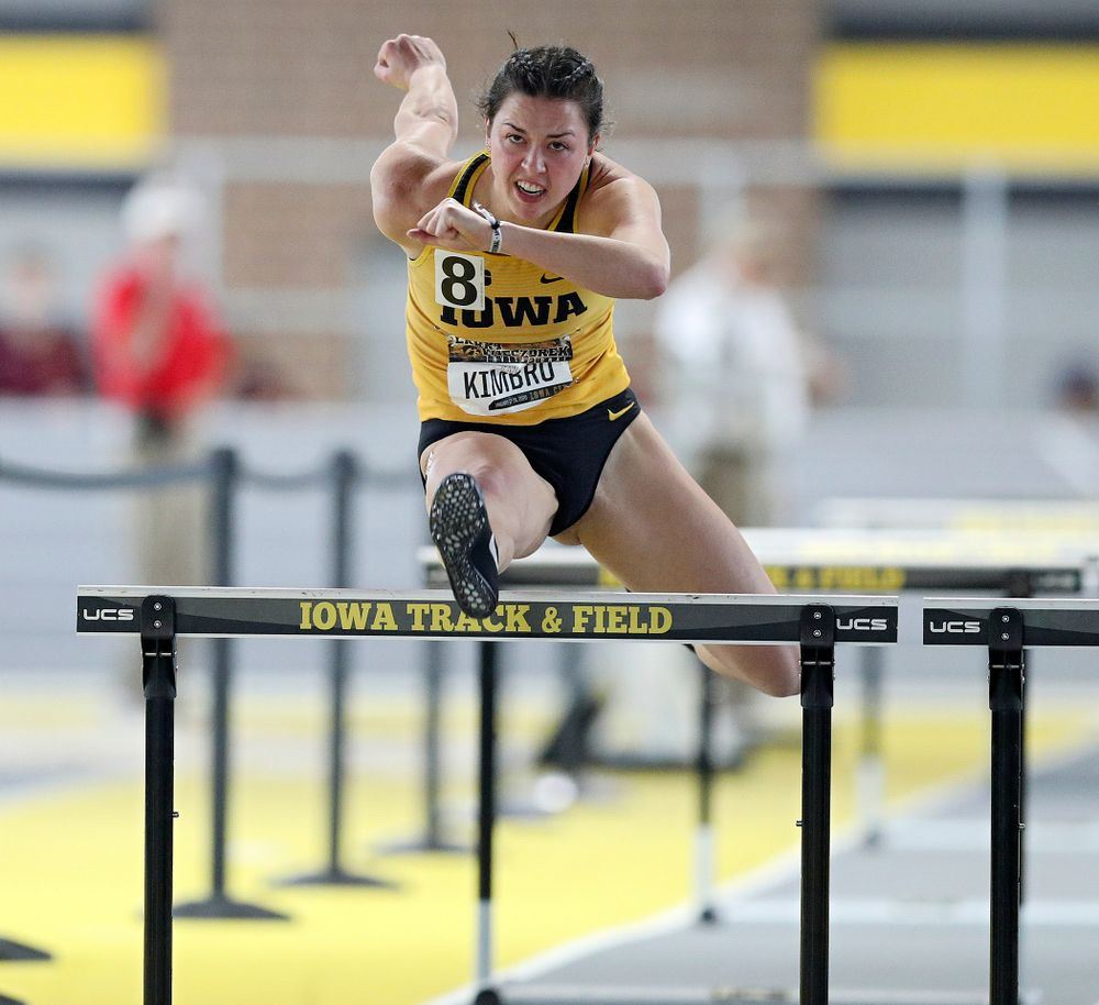 Iowa's Jenny Kimbro runs the women's 60 meter hurdles premier preliminary event during the Larry Wieczorek Invitational at the Recreation Building in Iowa City on Saturday, January 18, 2020. (Stephen Mally/hawkeyesports.com)