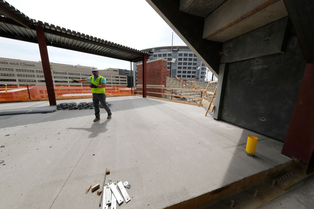 The outdoor patio area on the upper deck of the new north end zone Wednesday, June 6, 2018 at Kinnick Stadium. (Brian Ray/hawkeyesports.com)