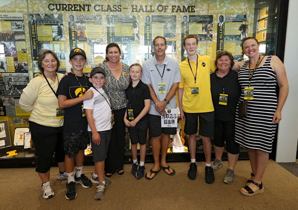 2019 University of Iowa Athletics Hall of Fame inductee Diane Pohl with her family at the University of Iowa Athletics Hall of Fame in Iowa City on Friday, Aug 30, 2019. (Stephen Mally/hawkeyesports.com)