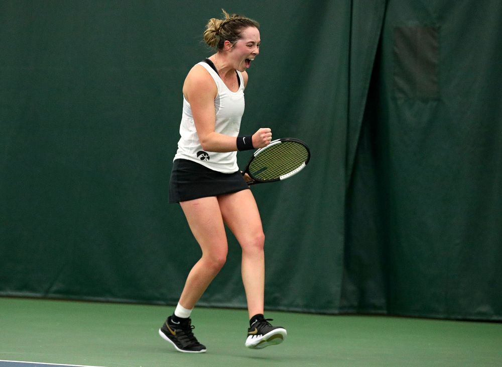 Iowa's Samantha Mannix celebrates a point during her singles match at the Hawkeye Tennis and Recreation Complex in Iowa City on Sunday, February 23, 2020. (Stephen Mally/hawkeyesports.com)