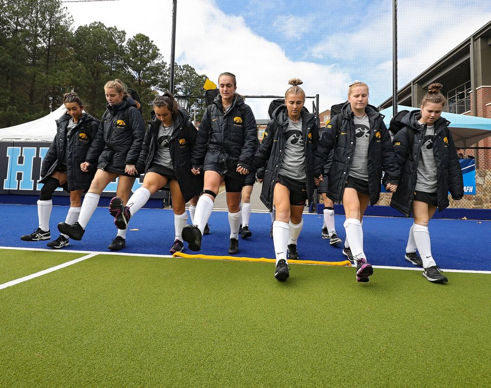 Iowa's Ciara Smith (17), Lokke Stribos (14), Cat Nicholson (24), Anthe Nijziel (6), Leah Zellner (13), Makenna Maguire (21), and Meghan Conroy (5) before their NCAA Tournament Second Round match against North Carolina at Karen Shelton Stadium in Chapel Hill, N.C. on Sunday, Nov 17, 2019. (Stephen Mally/hawkeyesports.com)