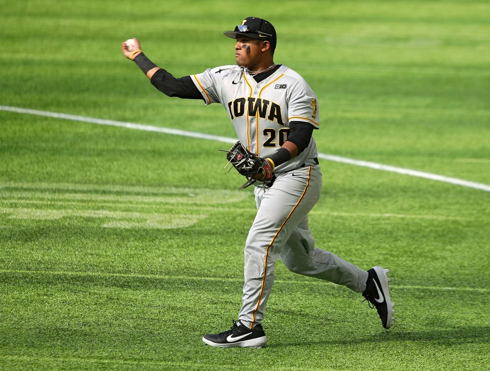 Iowa Hawkeyes infielder Izaya Fullard (20) throws to first for an out during the fourth inning of their CambriaCollegeClassic game at U.S. Bank Stadium in Minneapolis, Minn. on Friday, February 28, 2020. (Stephen Mally/hawkeyesports.com)