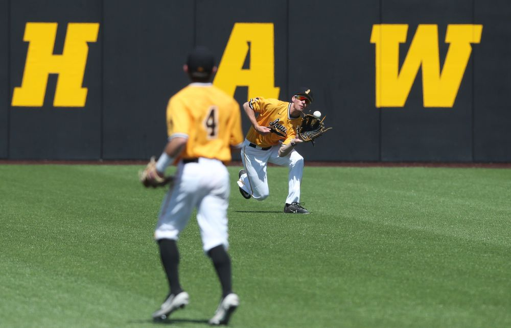 Iowa Hawkeyes outfielder Ben Norman (9) against the Nebraska Cornhuskers Sunday, April 21, 2019 at Duane Banks Field. (Brian Ray/hawkeyesports.com)