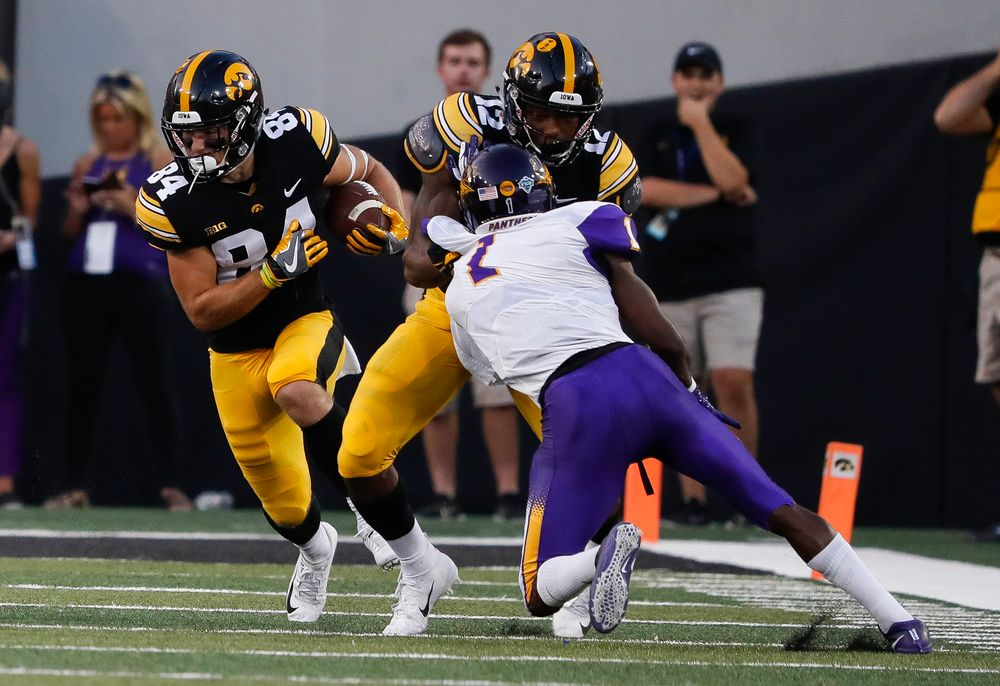 Iowa Hawkeyes wide receiver Nick Easley (84) runs the ball during a game against Northern Iowa at Kinnick Stadium on September 15, 2018. (Tork Mason/hawkeyesports.com)