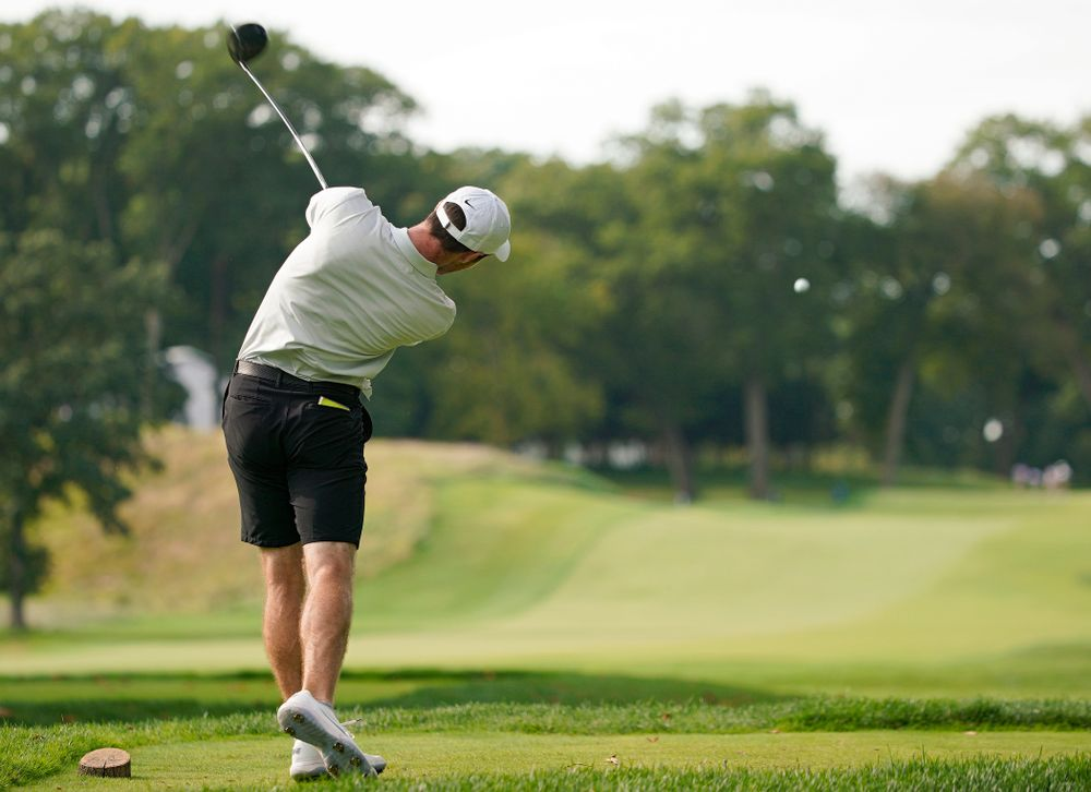 Iowa's Jake Rowe tees off during the second day of the Golfweek Conference Challenge at the Cedar Rapids Country Club in Cedar Rapids on Monday, Sep 16, 2019. (Stephen Mally/hawkeyesports.com)