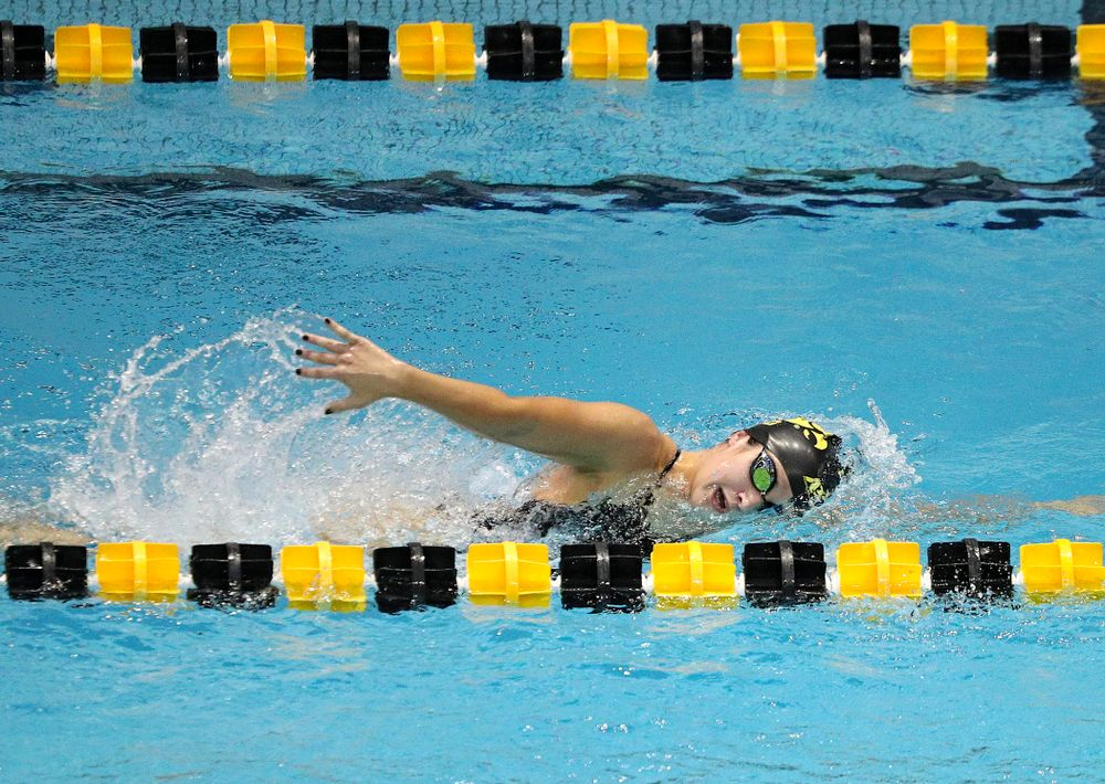 Iowa's Helena Blumenau swims the women's 1000-yard freestyle event during their meet against Michigan State and Northern Iowa at the Campus Recreation and Wellness Center in Iowa City on Friday, Oct 4, 2019. (Stephen Mally/hawkeyesports.com)