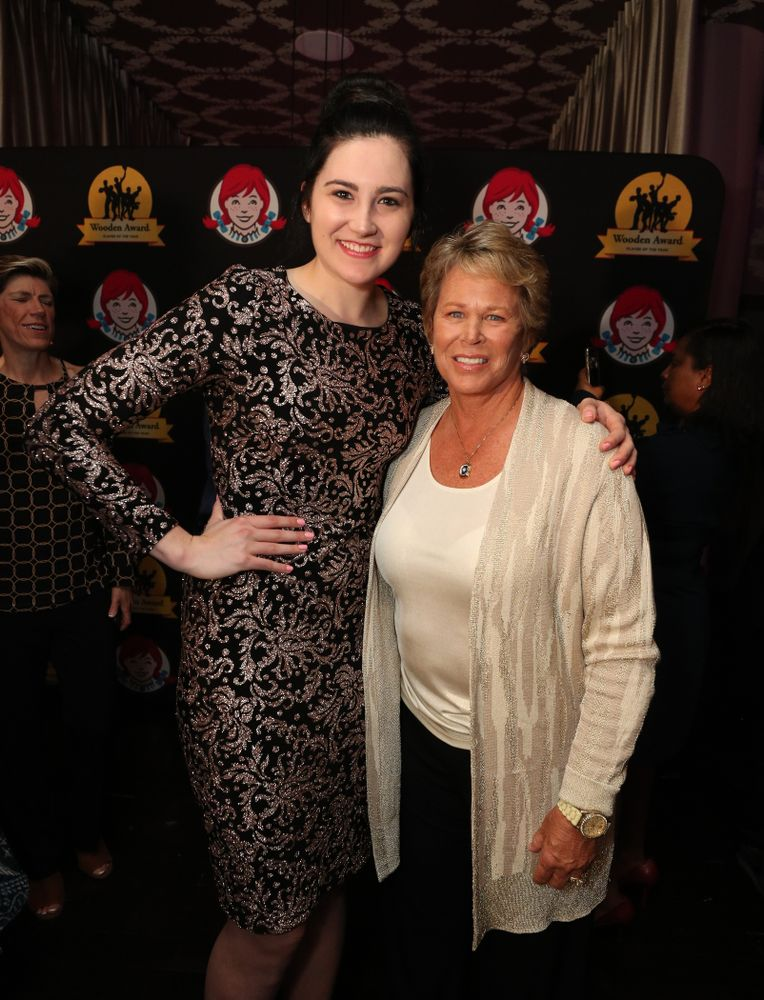 Iowa Hawkeyes forward Megan Gustafson (10) with WNBA great Ann Myers Drysdale before the ESPN College Basketball Awards show Friday, April 12, 2019 at The Novo at LA Live.  (Brian Ray/hawkeyesports.com)