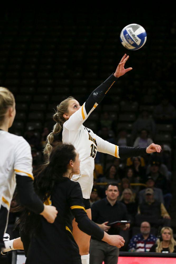 Iowa Hawkeyes defensive specialist Maddie Slagle (15) during Iowa volleyball vs Maryland on Saturday, November 30, 2019 at Carver-Hawkeye Arena. (Lily Smith/hawkeyesports.com)