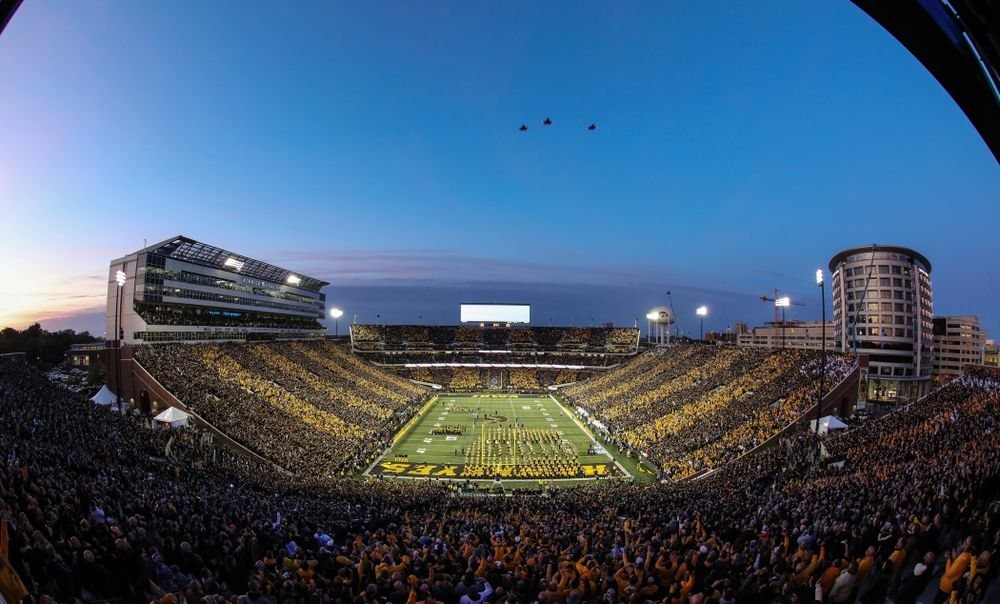 Three F35 Lightnings fly over before the Iowa Hawkeyes game against the Penn State Nittany Lions Saturday, October 12, 2019 at Kinnick Stadium. (Brian Ray/hawkeyesports.com)