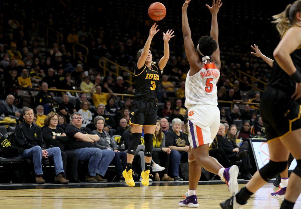 Iowa Hawkeyes guard Makenzie Meyer (3) knocks down a three point basket against Clemson Wednesday, December 4, 2019 at Carver-Hawkeye Arena. (Brian Ray/hawkeyesports.com)