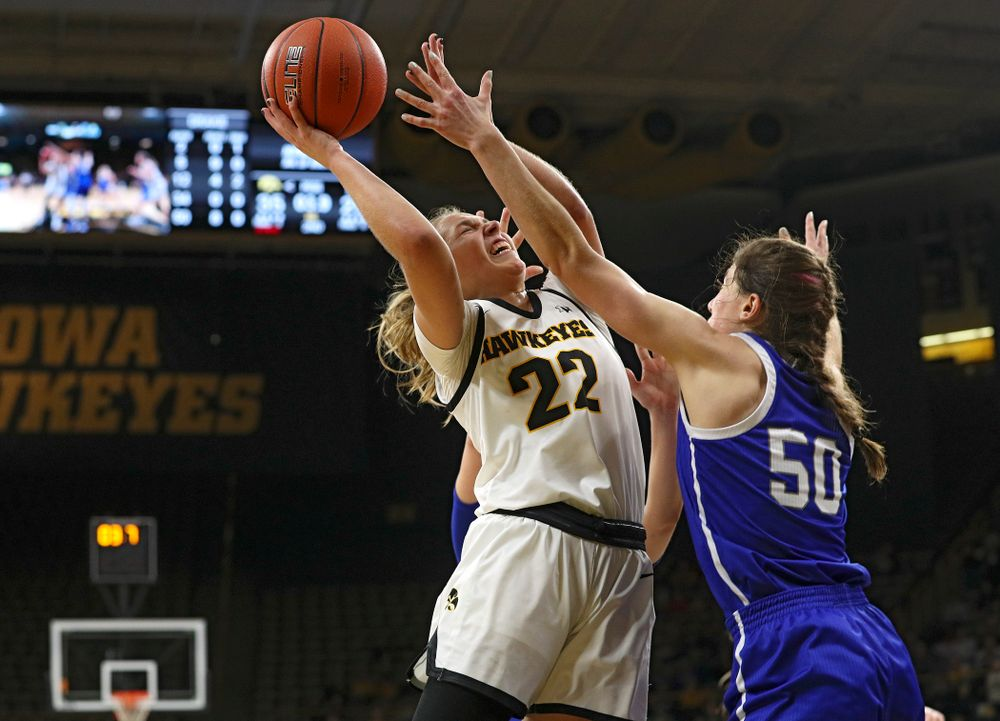 Iowa Hawkeyes guard Kathleen Doyle (22) makes a basket during the second quarter of their game at Carver-Hawkeye Arena in Iowa City on Saturday, December 21, 2019. (Stephen Mally/hawkeyesports.com)