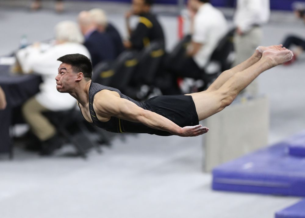 Iowa's Brandon Wong competes on the floor against Oklahoma Saturday, February 9, 2019 at Carver-Hawkeye Arena. (Brian Ray/hawkeyesports.com)