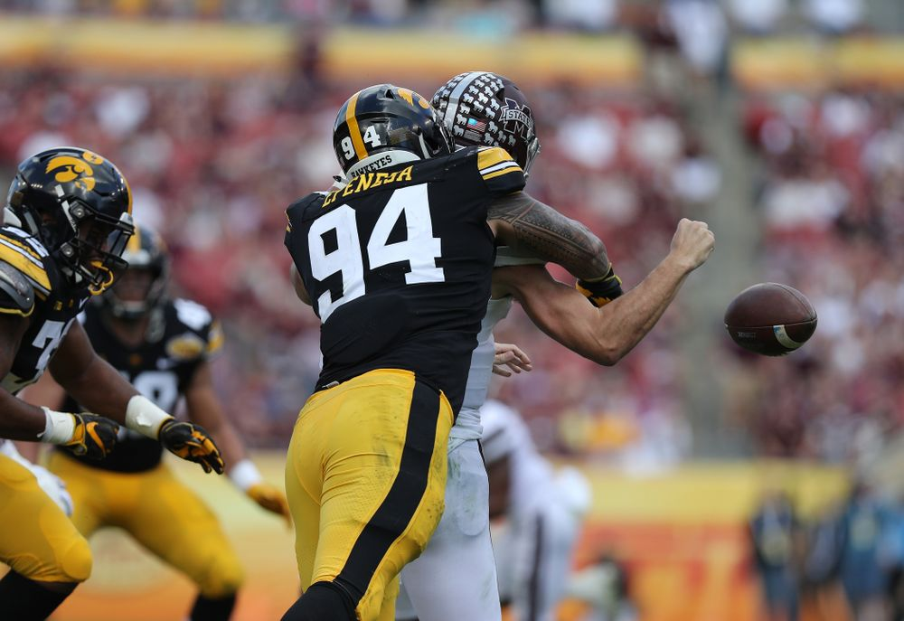 Iowa Hawkeyes defensive end A.J. Epenesa (94) during their Outback Bowl Tuesday, January 1, 2019 at Raymond James Stadium in Tampa, FL. (Brian Ray/hawkeyesports.com)