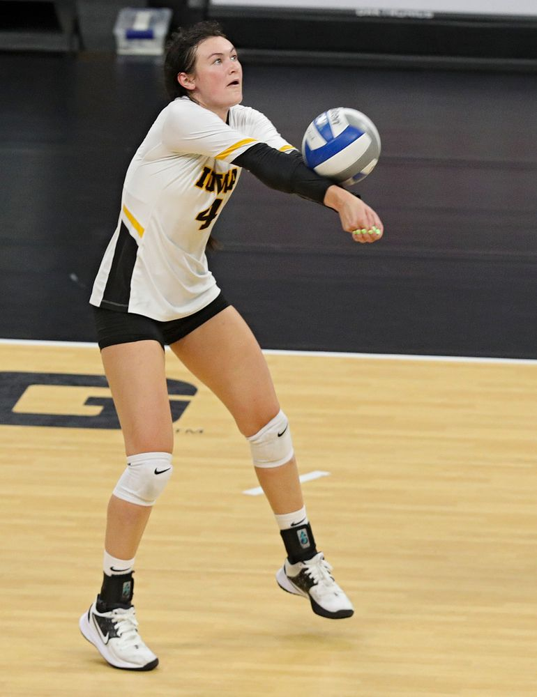 Iowa's Halle Johnston (4) during the second set of the Black and Gold scrimmage at Carver-Hawkeye Arena in Iowa City on Saturday, Aug 24, 2019. (Stephen Mally/hawkeyesports.com)
